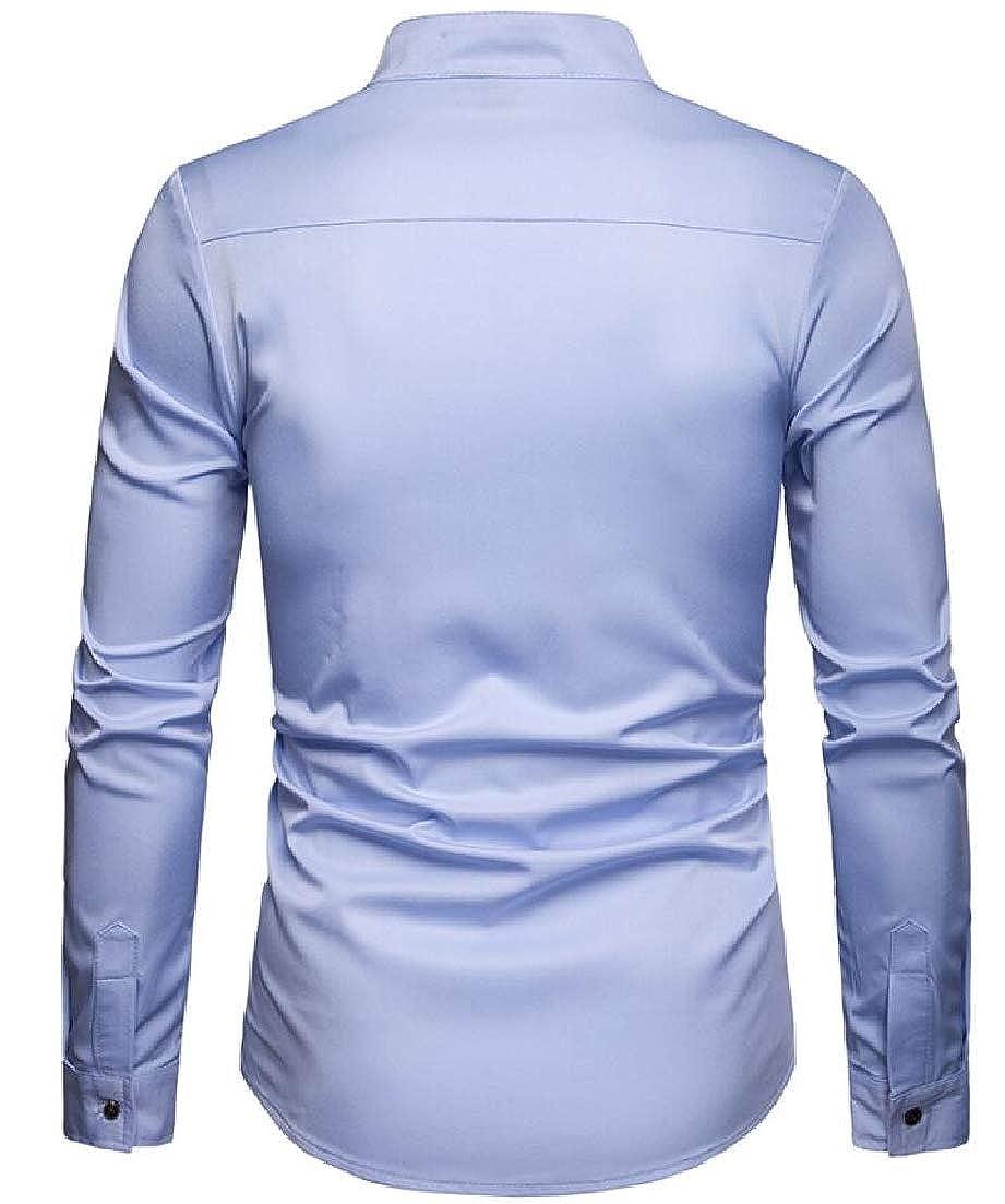 CRYYU Men Mandarin Collar Buttons Business Stylish Pocket Dress Shirts