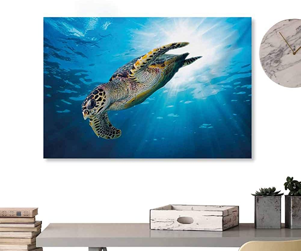 Glifporia Canvas Prints Wall Art Turtle,Hawksbill Sea Turtle Dive Deep Into The Blue Ocean Against Sun Rays,Yellow Brown Aqua Blue Home Decor Prints Posters