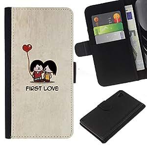 Sony Xperia Z4 / Sony Xperia Z4V / E6508 Modelo colorido cuero carpeta tirón caso cubierta piel Holster Funda protección - Cartoon Minimalist Beige Cute Heart