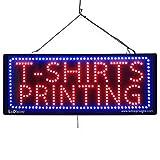 LARGE LED OPEN SIGN - ''T-SHIRTS PRINTING'' - 13''X32'' size, ON / OFF / FLASHING MODE (LED-Factory #2631)