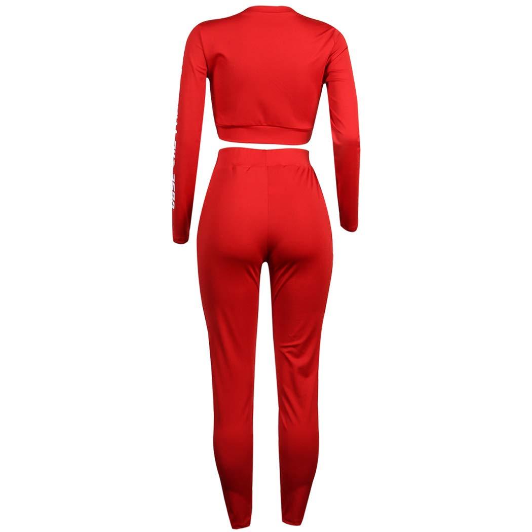 HANMAX Damen 2 St/ück Set Outfit Sport Yoga Fitness Bodycon Slim Jogginganzug U-Ausschnitt Langarmhemd Jumpsuit Crop Top Leggings