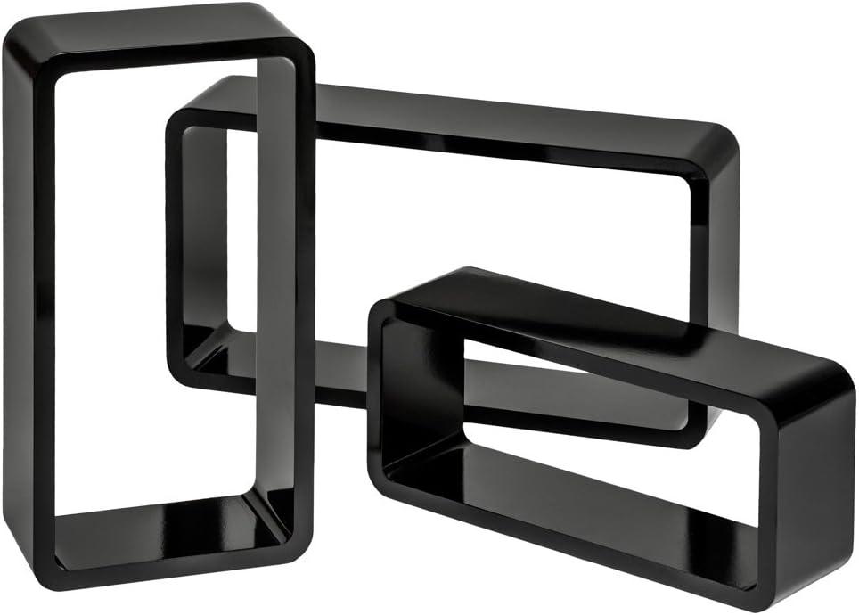 TecTake 800703 3er Set Wandregal H/ängeregal im Retro Cube Design f/ür B/ücher CDs Deko Diverse Farben - inkl Schwarz | Nr. 403181 Montagematerial