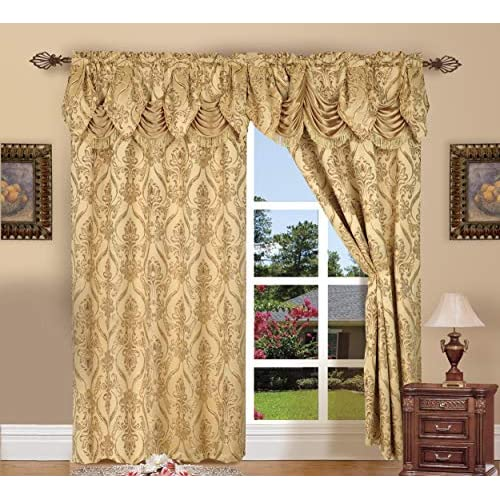 Elegant Comfort Penelopie Jacquard Look Curtain Panel Set with with Attached Waterfall Valance, Set of 2, 54x84 Inches, Gold