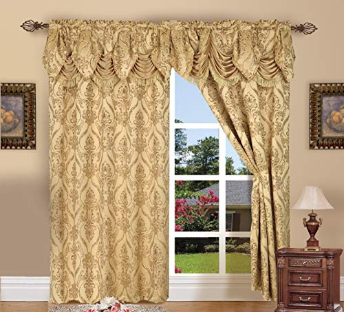 Valance Jacquard Curtain - Elegant Comfort Penelopie Jacquard Look Curtain Panel Set with Attached Waterfall Valance, Set of 2, 54x84 Inches, Gold