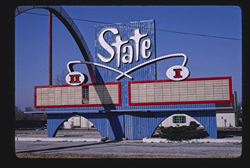 16 x 24 Gallery Wrapped Framed Art Canvas Print of State Drive-in Theater Sign, Wide View Showing Entire Arch, Route 24, State Avenue 1994 Roadside Americana Ready to Hang ()