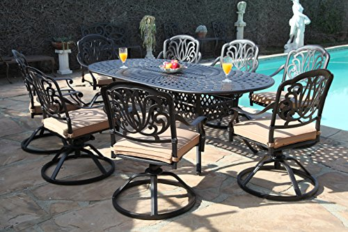 CBM Patio Elisabeth Collection Cast Aluminum 9 Piece Dining Set with 8 Swivel Rockers SH211-8S CBM1290