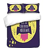 iPrint 3Pcs Duvet Cover Set,Love Decor,Rocket Goes to The Space I Love You to The Moon and Back Quote Stars Solar Cute Design,Yellow Indigo,Best Bedding Gifts for Family/Friends