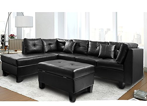 Merax Sectional Sofa with Chaise and Storage Ottoman, PU leather /2 Square Pillows/Wooden Legs, Black