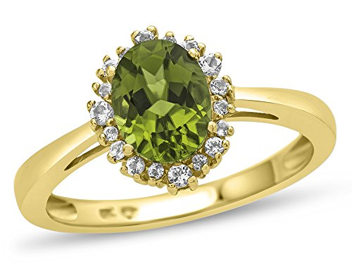 (Finejewelers 10k Yellow Gold 8x6mm Oval Peridot with White Topaz accent stones Halo Ring Size)