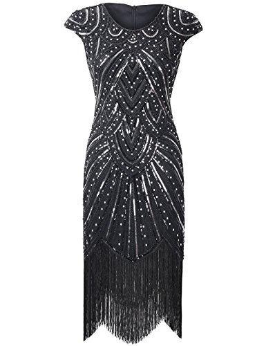 PrettyGuide Women's 1920s Gastby Sequined Embellished Fringed Sparkly Flapper Dress XXL Luxury Black for $<!--$45.99-->
