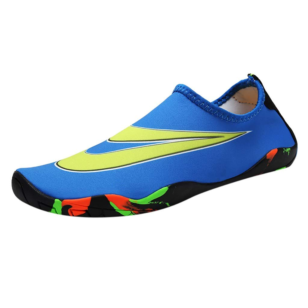NUWFOR Couple Beach Shoes Swimming Shoes Water Shoes Barefoot Quick Dry Aqua Shoes(Blue,7.5 M US Length:9.5'')