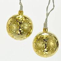 """Kurt Adler Battery-Operated 10-Light 2.35"""" Gold Ball Light Set"""