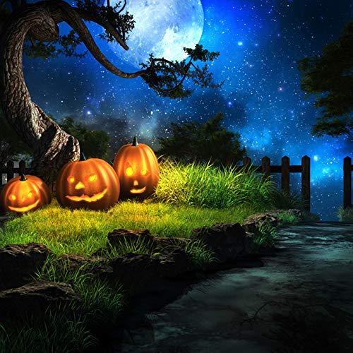 KSZUT 10x10FT Halloween Mystery Night Theme Photography Backdrop Blue Sky Moon Vinyl Customized Photo Background Studio Prop DZ-778 ()