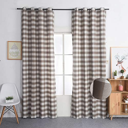 Nauxcen 100% Cotton Plaid Curtains 52 X 63 Inch 2 Panels Brown Grommet Curtains for Bedroom Living Room