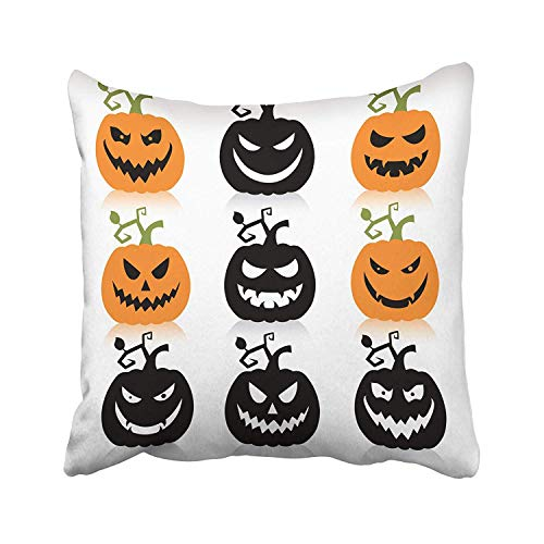 FJPT Throw Pillow Cover Green Silhouette of Scary Halloween Pumpkin Orange Outline Simple Spooky Black Evil Head Eyes Cotton Pillowslip for Sofa Bed Stand Size Pillowcase 20x20 Inch