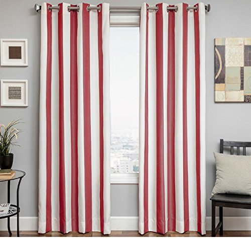1pc 84 Natural Jockey Red Color Stripe Gazebo Curtain Single Panel, Outdoor Pergola Drapes Porch Deck Cabana Patio Screen Entrance Sunroom, Red Striped Pattern Rugby Colors Outside by U.A.A. INC.