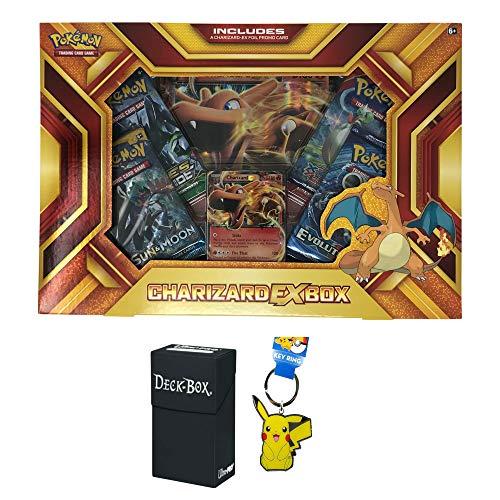 Pokemon Charizard EX Fire Blast Premium Collection Box with Charizard EX Promo Card, Oversized Charizard EX Card, 4 Pokemon Booster Packs Bundle with Pikachu Keychain and Ultra Pro Deck Box - 3 Items ()
