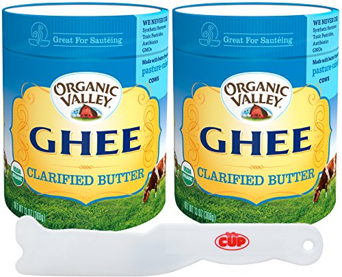 Organic Valley - Ghee Clarified Butter, USDA Organic, Lactose-Free and Gluten-Free, 13 Ounce (Pack of 2) - with By The Cup spreader