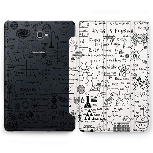 Wonder Wild Science Drawing Samsung Galaxy Tab S4 S2 S3 Smart Stand Case 2015 2016 2017 2018 Tablet Cover 8 9.6 9.7 10 10.1 10.5 Inch Clear Design Monochrome Calculation Formula Mathematical Numbers]()