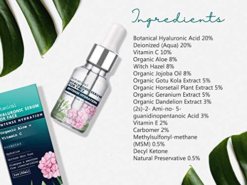 51vt%2Bv99Q3L - Hyaluronic Acid Serum for Face, Repairs Damaged Skin, All Natural with Vitamin C, E, Jojoba Oil, Witch Hazel. (Anti Aging Formula)