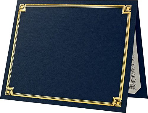 (Certificate Holders (9 1/2 x 12) - Blue with Gold Foil (50 Qty.) | Perfect for Award Recognition, Certificates, Documents and More! | CHEL-185-DDBLU100-F-50)