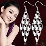 Womens 925 Sterling Silver long Peacock Tail Drop/Dangle Ear Stud Hook Earrings