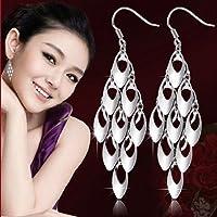 Womens 925 Sterling Silver long Peacock Tail Drop/Dangle Ear Stud Hook Earrings