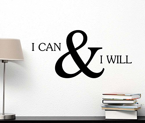 I can and I will cute Wall Vinyl Inspirational Quote lettering motivational Art Saying Sticker stencil nursery wall decor (Motivational Wall Sticker Quotes)
