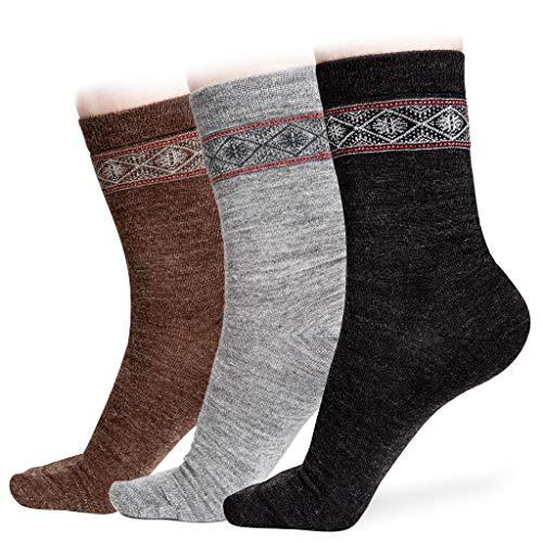 Alpaca Wool Socks Nordic 2Pairs for Women - Comfortable & Warm Winter | Ultra Durable BDCH
