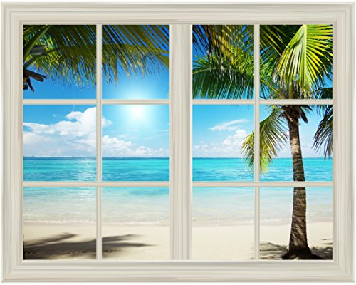 White Beach and Blue Sea View Window View Mural Wall Sticker
