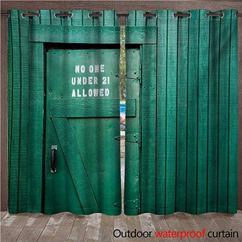 WilliamsDecor Teal Outdoor Ultraviolet Protective Curtains Monochrome Vintage Wooden Local Irish Pub Rustic Door with Warning Phrase Culture Photo W84 x L96(214cm x ()