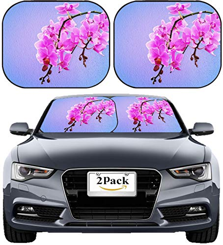 (MSD Car Sun Shade Windshield Sunshade Universal Fit 2 Pack, Block Sun Glare, UV and Heat, Protect Car Interior, Image ID: 32648713 Pink Orchid Flowers on a Pastel Background)