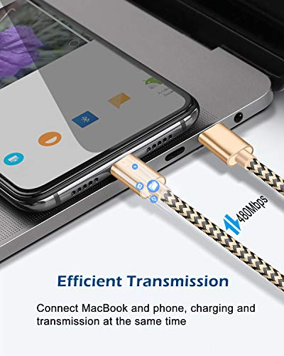 USB C to USB C Cable,3 Pack USB C Charger Cable,Nylon Braided USB C to C Cable for Samsung Galaxy S20/S10/S9/Note 10, Google Pixel 2/3/4 XL, MacBook Pro 2019/2018/2017 and More, 5FT (Gold, Pink, Grey)