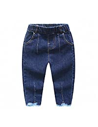 Kidscool Baby & Little Boys/Girls Raw Edge Ripped Denim Pants Jeans