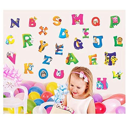 Yingwei A-Z Alphabet Vinyl Mural Wall Stickers for Nursery Kids Room Decoration