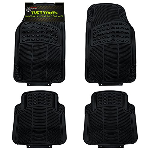 TUFFMATS 4-Piece 4PC Black Universal Trim-Fit Floor Mat Covers Durable for Any Weather and Odor Resistant with Dirt & Debris Pockets fits All Automobiles by Rugged TUFF