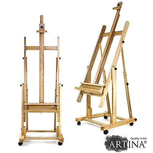 Artina Profi Staffelei Atelierstaffelei Verona - rollbare, massive Staffelei aus Holz