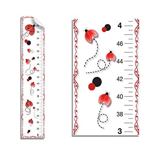 Growth Chart Red Black Ladybug Wall Decals Vinyl Sticker Kids Ladybugs Height Measurement Childrens Nursery Baby Room Decor Girl Bedroom Decorations Childs Measure Growing Babies Lady Bug Keepsake Art