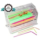 Tiger Chef Top Quality Clear Acrylic straw dispenser includes 400 Neon Straws, BPA-Free