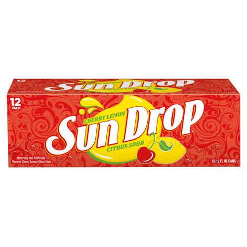 Cherry Lemon Sun Drop Citrus Soda, 12 fl oz, 12 pack