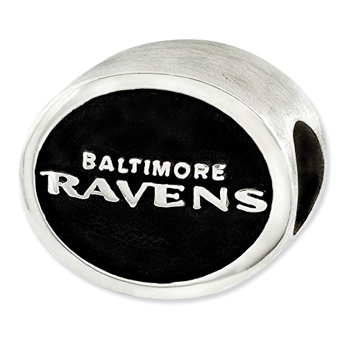 (Mia Diamonds 925 Sterling Silver LogoArt Enameled Baltimore Ravens NFL Bead Charm for Charm Bracelet)