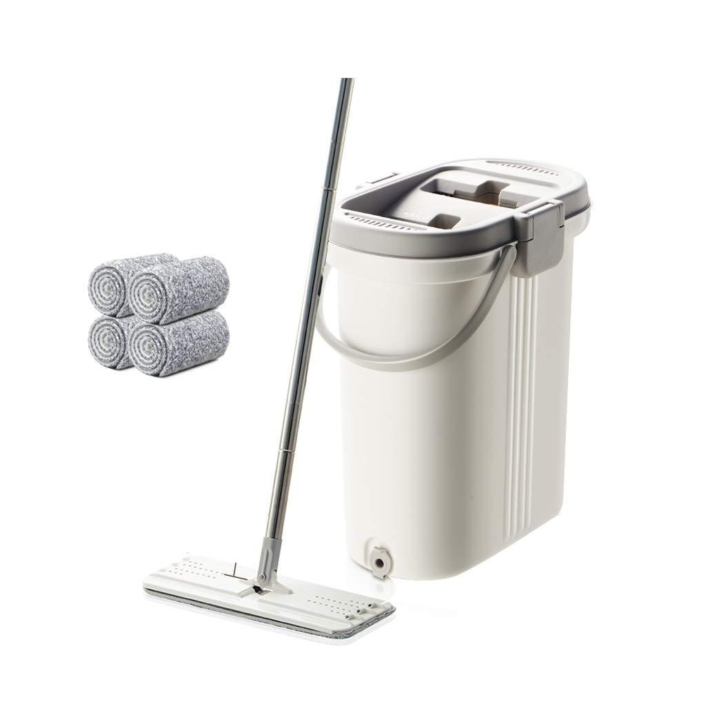 フロアモップ デュアルバケツスピンモップハンドフラットモップ洗浄無料怠惰な家庭用自動ロータリーモップ B07Q7NZS1D
