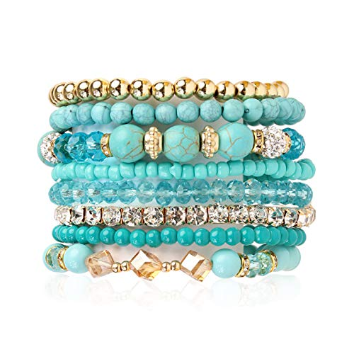 (RIAH FASHION Multilayer Beaded Stretch Stacking Bracelets - Multi Strand Colorful Sparkly Beads Statement Wrap Slip-on Cuff Bangles (Mix Bead - Turquoise))