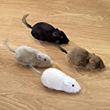 "Bits and Pieces - Wind Up Racing 4 Mice-Realistic Looking Mice, Carefree pet - Set of 4: black, gray, white and brown. Each Measures 4-1/2"" long"