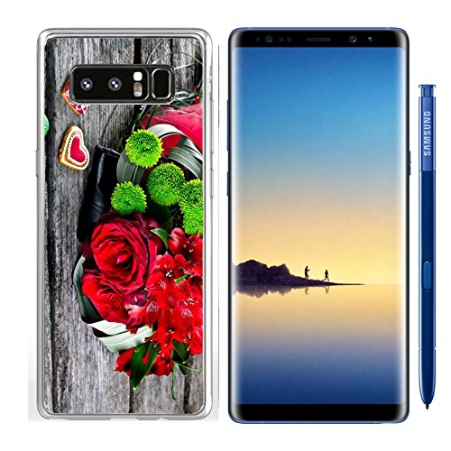 Luxlady Samsung Galaxy Note8 Clear case Soft TPU Rubber Silicone IMAGE ID: 22968315 Wedding Bouquet with Heart shape Gingerbread on wooden background