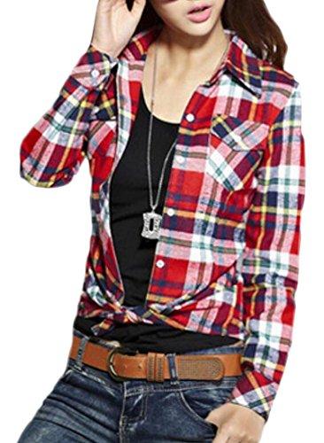 M&S&W Women's Slim Plaid Print Brushed Button Down Shirts 12