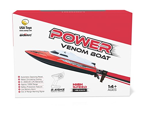 UDI001 Venom Remote Control Boat for Pools, Lakes and Outdoor Adventure - 2.4GHz High Speed Electric RC - includes BONUS BATTERY Doubles Racing Time - Exclusive Red Color