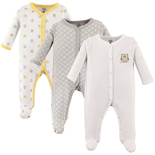 Luvable Friends Baby Snap Sleep and Play, 3 Pack, Owl, 3-6 Months (Sleeper Womens)