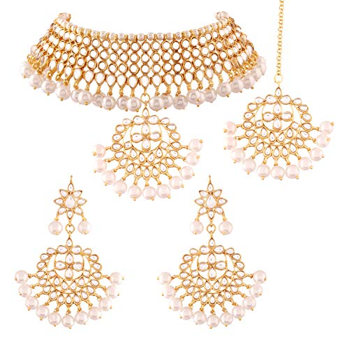 I Jewels Kundan & Pearl Choker Necklace Set for Women (K7058W)