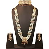 Touchstone Mughal Jali Collection Faux Pearls/Ruby Bridal Wedding Rani haar Necklace and Choker in Gold Tone for Women